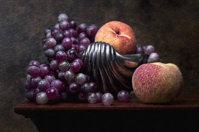 Peach Photograph - Grapes With Peaches by Tom Mc Nemar