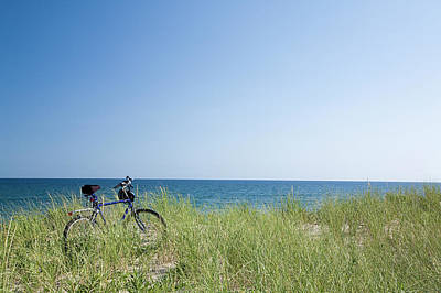 Grass Covering Bicycle Parked On Beach Dune. Print by Alberto Coto