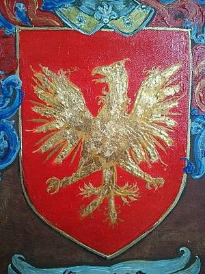 Family Painting - Graves Family Coat Of Arms Close Up by Nancy Rutland
