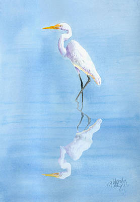 Egrets Painting - Great Egret In Reflection by Arline Wagner