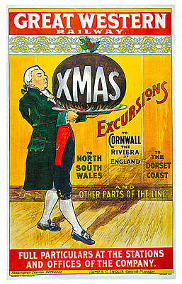 Great Western Railway Xmas Excursions Print by George Conning