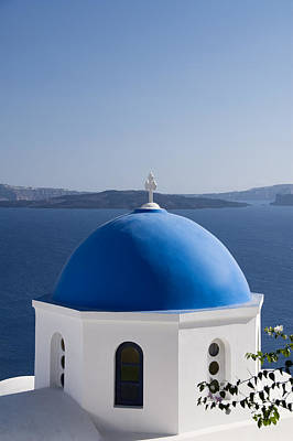 Greek Church Dome Print by Gloria & Richard Maschmeyer