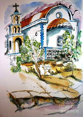 Religious Drawing - Greek Church by Therese Alcorn
