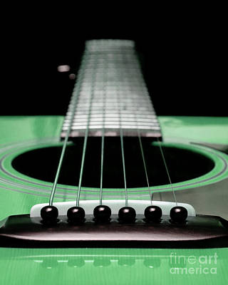 Guitar Photograph - Green 2 Guitar 25 by Andee Design