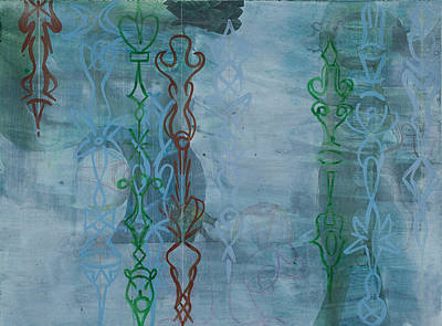 Dreamlike Drawing - Green And Blue Crystal Strands by Alexandra Sheldon