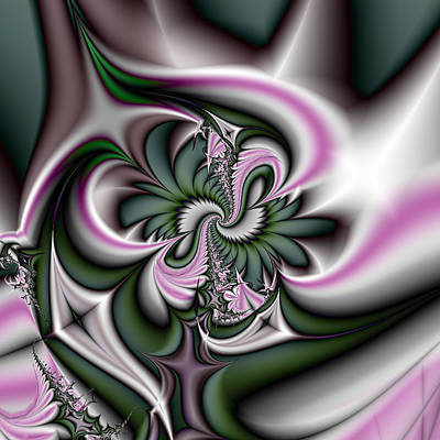 Green And Pink Fractal Print by Gina Lee Manley