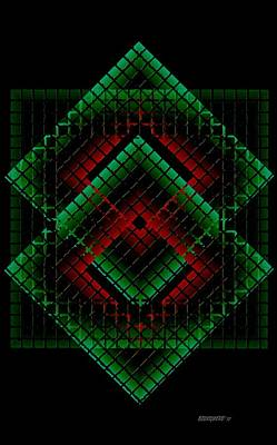 Angle Digital Art - Green And Red Geometric Design by Mario Perez