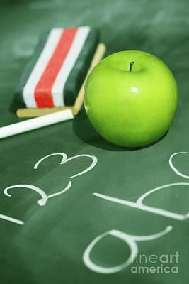 Green Apple For School Print by Sandra Cunningham