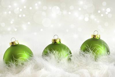 Merry -go- Round Photograph - Green Christmas Balls by Sandra Cunningham