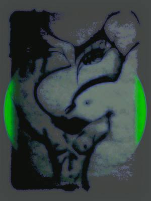 Green Dot Print by Marjan Ali