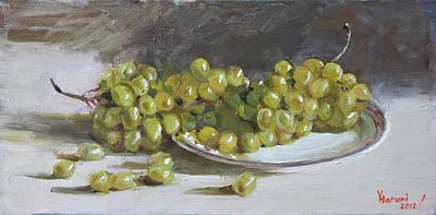 Grapes Painting - Green Grapes  by Ylli Haruni