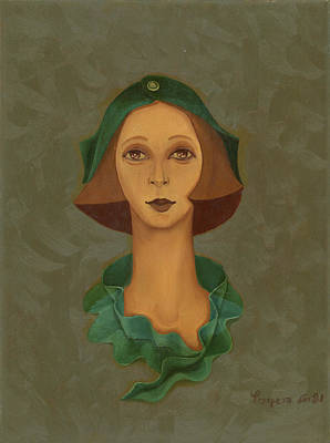 Green Painting - Green Hat Carre Woman Face  by Rachel Hershkovitz