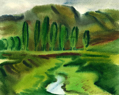 Green Landscape Print by Vasile Movileanu