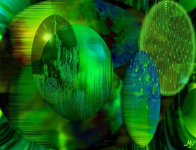 Digital Art - Green Ovals by Mathilde Vhargon