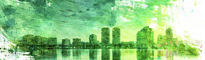 Green Skyline Print by Andrea Barbieri