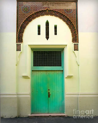 Green Spanish Doors Print by Perry Webster