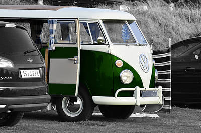 Green Vw Camper Print by Paul Howarth