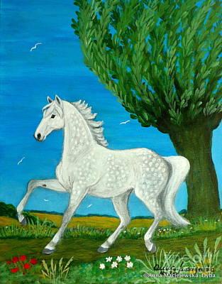 Folkartanna Painting - Grey Horse by Anna Folkartanna Maciejewska-Dyba
