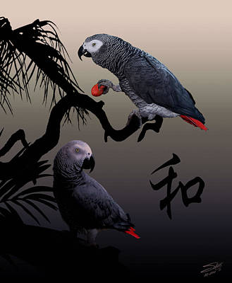Parrot Digital Art - Grey Parrot Harmony by IM Spadecaller