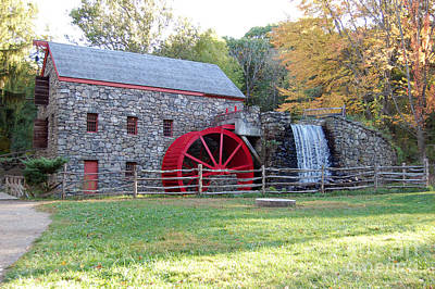 Grist Mill At Wayside Inn Print by John Small