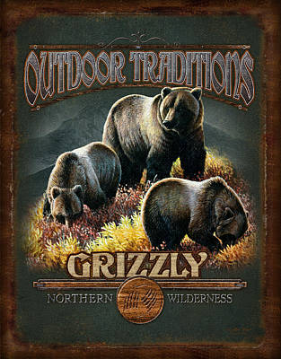 Cynthie Fisher Painting - Grizzly Traditions by JQ Licensing