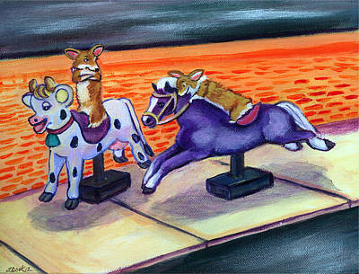 Cartoon Animals Painting - Grocery Store Corgi Rides by Lyn Cook