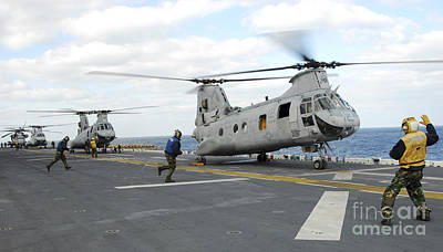 Japan Relief Photograph - Ground Crew Prepares Ch-46e Sea Knight by Stocktrek Images