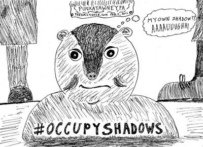 Groundhog Drawing - Groundhog Day 2012 Cartoon by Yasha Harari