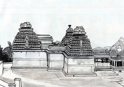 Shashi Kumar Drawing - Group Of Jain Temples Hampi by Shashi Kumar