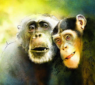 Chimpanzee Drawing - Growing Old Together by Miki De Goodaboom