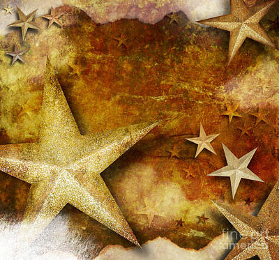 Photograph - Grunge Golden Sparkle Star Background by Angela Waye