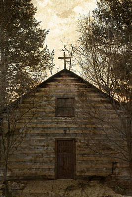 Notre Dame Photograph - Grungy Hand Hewn Log Chapel by John Stephens