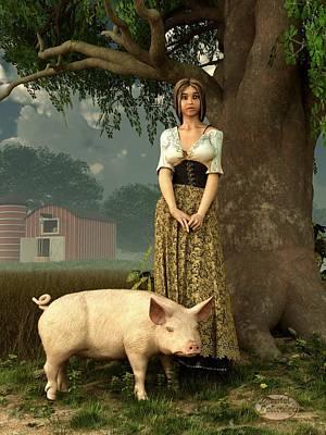 Guard Pig Print by Daniel Eskridge