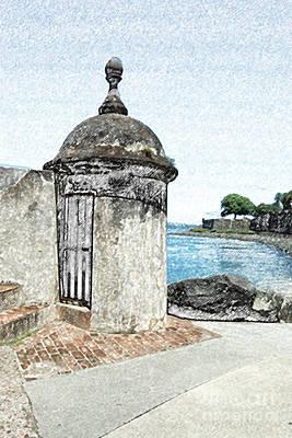 Castillo San Felipe Del Morro Digital Art - Guard Post Castillo San Felipe Del Morro San Juan Puerto Rico Colored Pencil by Shawn O'Brien