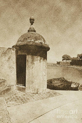 San Juan Digital Art - Guard Post Castillo San Felipe Del Morro San Juan Puerto Rico Vintage by Shawn O'Brien