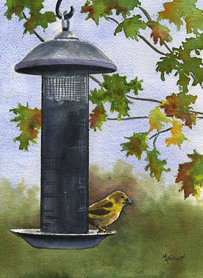 Finch Painting - Guarding The Loot by Marsha Elliott