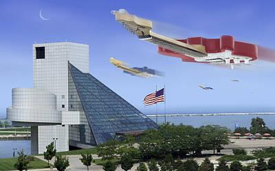 Flying Guitars Digital Art - Guitar Wars At The Rock Hall by Mike McGlothlen