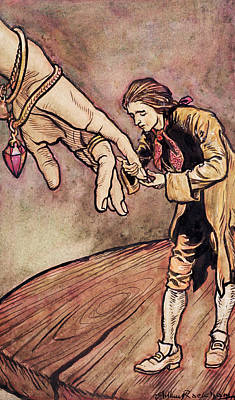 Literature Painting - Gulliver In Brobdingnag Kissing The Hand Of The Queen by Arthur Rackham