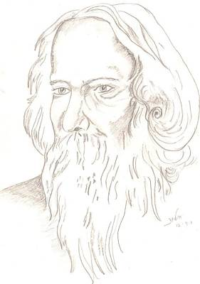 Drawing - Gurudev Robindranath Tagore by Archana Saxena