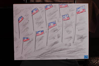 Haiti Flags Proudly Blowing Original by Michael Vincent Whitemiller