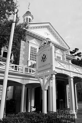 Magic Kingdom Photograph - Hall Of Presidents Exterior Walt Disney World Prints Black And White by Shawn O'Brien