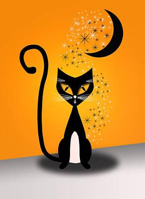 Cat Digital Art - Halloween Cat by Julie L Hoddinott