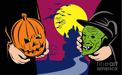 Jack-o-lantern Digital Art - Halloween Mask Jack-o-lantern Witch Retro by Aloysius Patrimonio