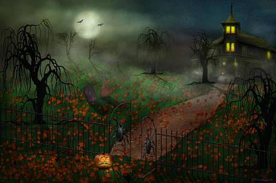 Halloween - One Hallows Eve Print by Mike Savad