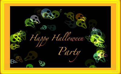 Haunted House Party Mixed Media - Halloween Party by Debra     Vatalaro