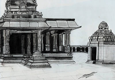 Shashi Kumar Drawing - Hampi Stone Structure 2 by Shashi Kumar