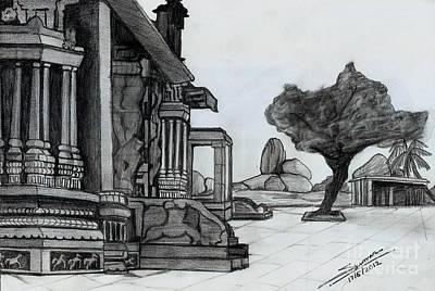 Shashi Kumar Drawing - Hampi Stone Structure by Shashi Kumar