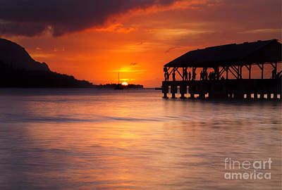 Sunset Photograph - Hanalei Pier by Mike  Dawson