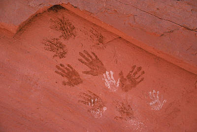 Handprints Painted On A Rock Wall Print by Ira Block
