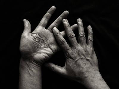 Hands On Black Background Print by Luigi Masella